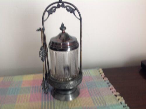 Antique VICTORIAN CLEAR PATTERN GLASS TRIPLE SILVER  PLATE PICKLE CASTOR JAR