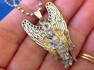 CUSTOM ARCHANGEL St GABRIEL Saint Medal NECKLACE Pendant Gold Plate Angel Wings  Gabriel Angel Wings