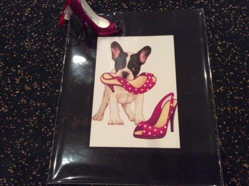 French bulldog print, dog holding pink shoe, new