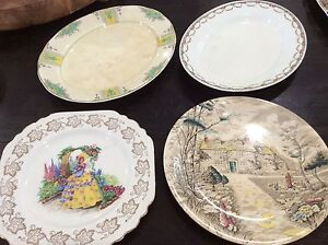 4 Antique China Plates inc J & G Meakin England Shabby Bundall Gold Coast City Preview