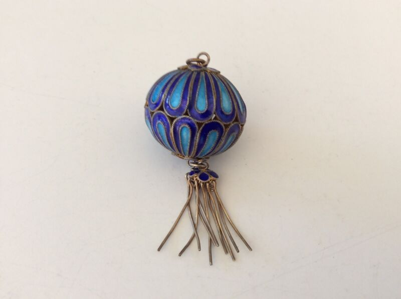 Vintage Silver  Blue Enamel Dangle Lantern Pendant