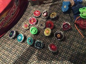 Beyblades, stadium rippers and case