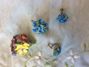 Vintage Denton Bone China Brooches and Earrings