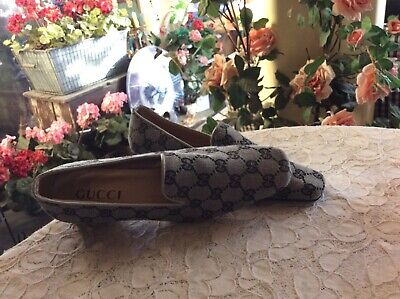 Vtg GUCCI GG Gray Monogram Flat Loafers Moccasins Size 10