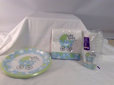 Baby Shower Plates Cups Napkins (NEW Baby Boy Shower Party 3 pc Lot 12 Cups 20 Napkins 18 Plates 8.75