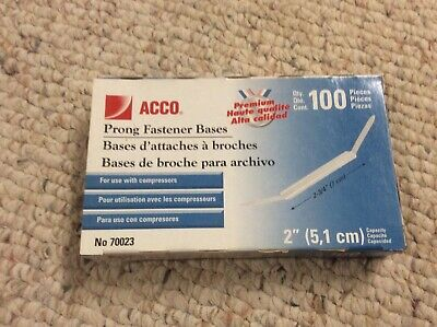 Acco Prong Bases For Two-piece Paper File Fasteners Two Inch Capacity 100box