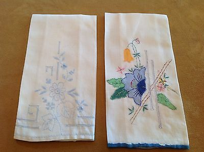 Two Vintage Tea Or Guest Towels, White, Blue Appliqué And Embroidered Flowers ❤️
