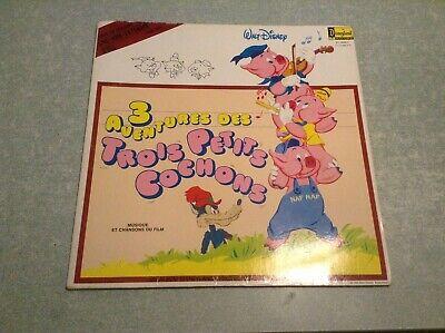 Disque vinyle 33 tours (b) Walt Disney, 3 aventures des trois petits cochons