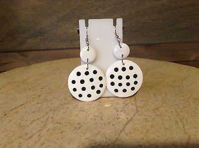 Jewelry Earrings Pierced White/Black Polka-dot Round Style NWOT