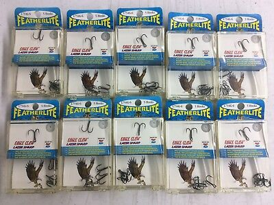 Eagle Claw Nickel Teflon Round Bend Wide Gape Treble Hooks - L754G-6 - Lot Of 50