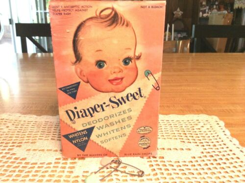 Very Cute, Vintage 1959, Box of Diaper-Sweet,1 1/2 lbs.(NOS) 2 Old Diaper Pins