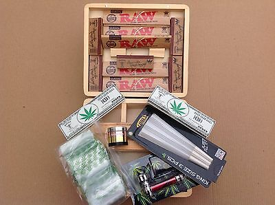 WOOD ROLLING BOX KIT LARGE, Quality metal grinder,Tobacco Weed Grass Etc