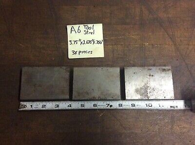 3x Pieces A-6 Tool Steel Bar Stock Plate Machine Shop 3.75 X 2.625 X .75