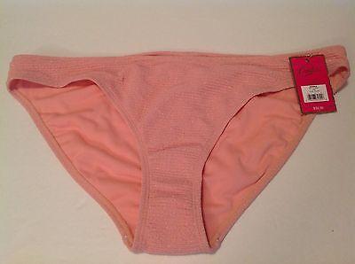 Candie's Juniors Peach Metallic Gold Textured Bottom Bikini Swim NWT XL