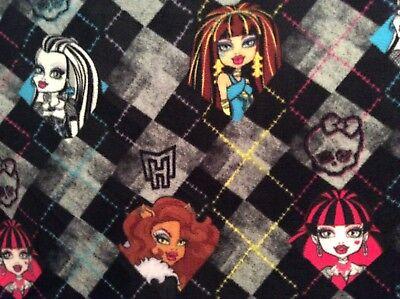 Monster High Girls Anti-Pill Fleece Fabric on black and gray, 60