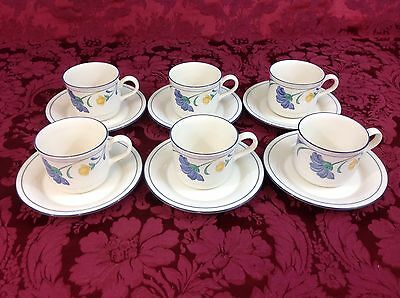 Lenox Chinastone Buttercups on Blue SIX Cups and Saucers
