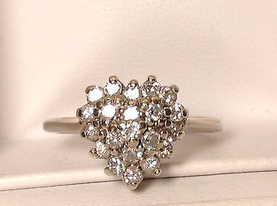 14K White Gold 21 DIAMOND CLUSTER HEART RING size 5.5