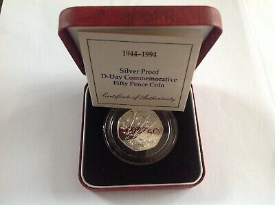 Royal Mint D-Day 1994  Silver Proof Fifty Pence 50p coin with COA
