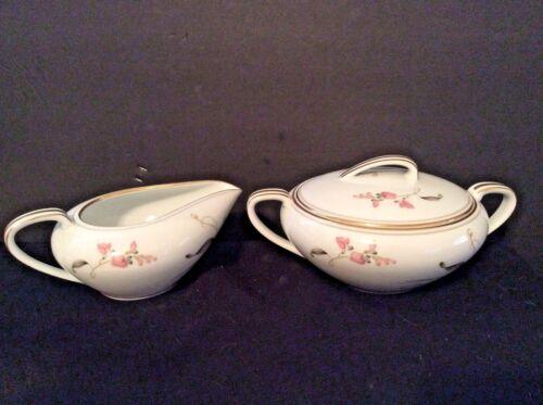 Vintage Porcelain Covered Sugar Bowl & Creamer set white pink flowers gold trim