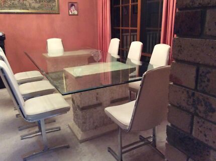 Italian glass dining table with 8 chairs  Lilli Pilli 2229 Sutherland Area Preview
