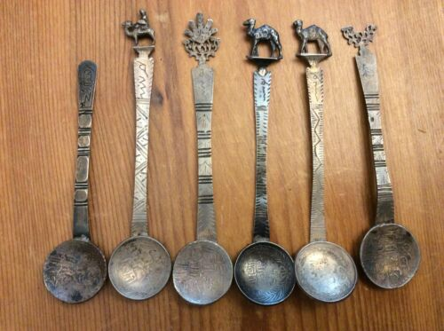 (6) Antique Silver Arabic Coin Spoons, Arabic writing, Camel, Flame