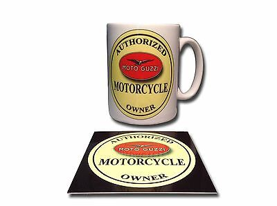 MOTO GUZZI OWNER CERAMIC MUG PLUS **FREE** ENAMELLED FINISH COASTER,RETRO.