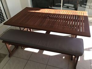 Outdoor Dining Wooden Table with Benches and Cushions. Meridan Plains Caloundra Area Preview