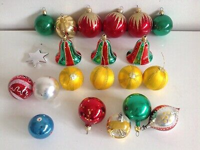 Bundle Vintage 80s Christmas Tree Decoration Baubles  - 80s Christmas Decorations
