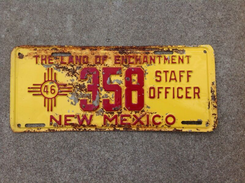 1946 - NEW MEXICO - STAFF OFFICER - LICENSE PLATE