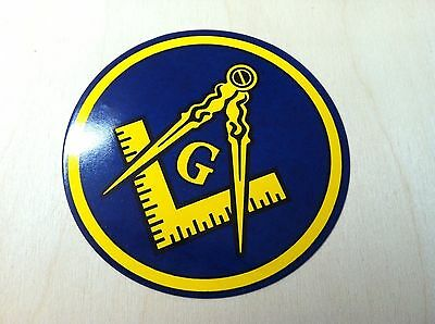 "1 Freemason Car Decal 3.5"" Masonic Logo Mason Sticker Gift window master blue"