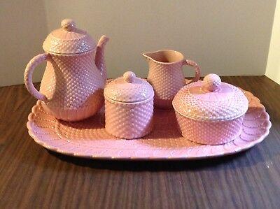 5 pcs. BORDALLO PINHEIRO Tray Teapot Sugar Creamer Jam BASKETWEAVE LEAVES PINK