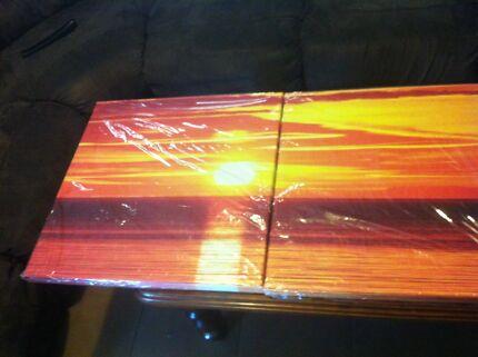 Canvas art three peace sunset over ocean Bolivar Salisbury Area Preview