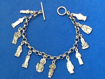 Custom FEMALE SAINTS Religious Saint Medal Charm Bracelet Lot Stainless Steel - Customized Medals