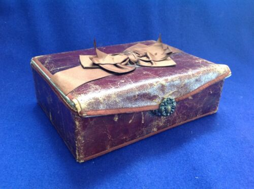 RARE ANTIQUE SHAKER LEATHER AND BLUE SILK SEWING KIT BOX  WITH MANY EXTRAS