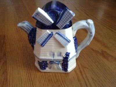 Vintage Delft Blue Windmill Teapot From Japan