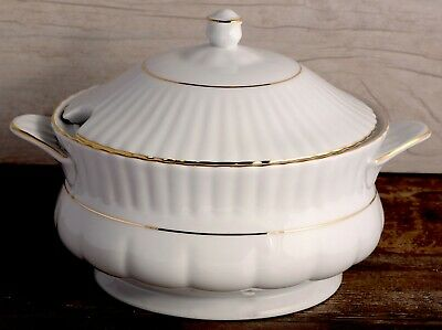 Porcelain Soup Tureen 2,5L Bowl with handles Gold Rimmed Fine Large Serving Stew Gold-rimmed Soup Bowl