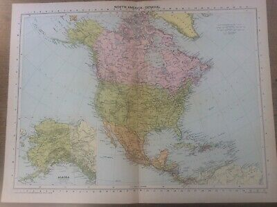 Vintage Antique 1939 Philips Map 20x15 North America General Map