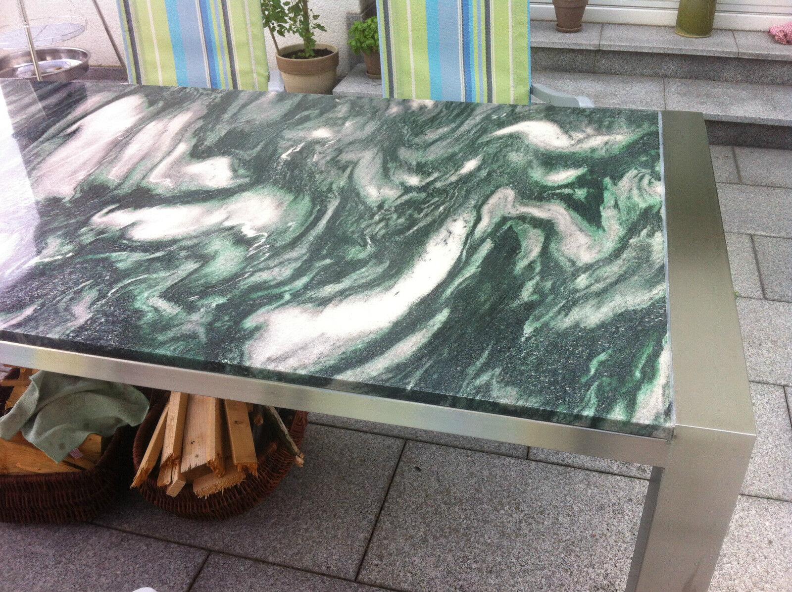 Gartentisch wohnzimmertisch 160x90 naturstein gr n for Wohnzimmertisch stein