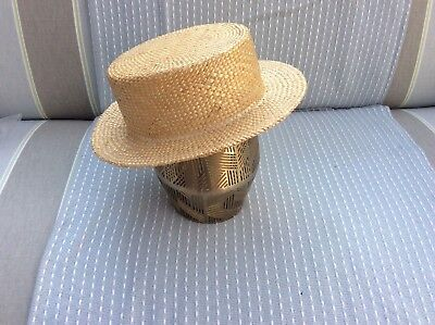 Vintage Straw Boater Hat MADE IN ENGLAND Lovely Condition CHIC SUMMER STYLE