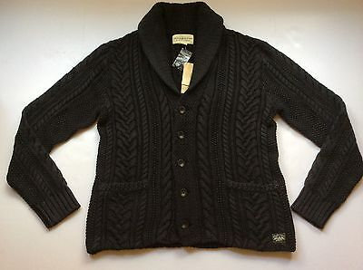 NEW Ralph Lauren Denim&Supply Washed Black Cabled Shawl Cardigan-MENS- L