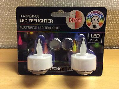Stunden Timer (LED Teelichter 2er Set mit Farbwechsel und 6 Stunden Timer )