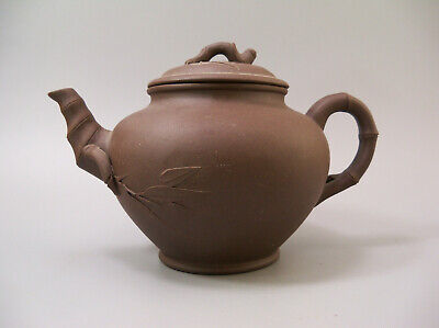 7 Cups Made in USA Vintage 1970s Pottery Craft Teapot with Bamboo Handle