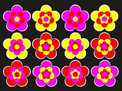 12 Stück ca. 3,5 cm Retro Retrostyle Blumen Blume Aufkleber AN1534