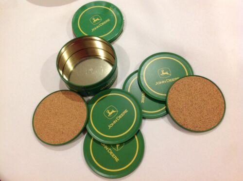 John Deere Coasters and Metal Case, Set of 6, Metal & Cork
