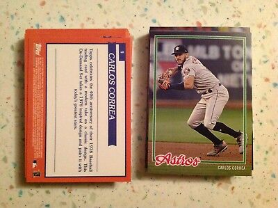 (Carlos Correa #9 Astros 2018 Topps On-Demand Set #6  Inspired By '78 1978)