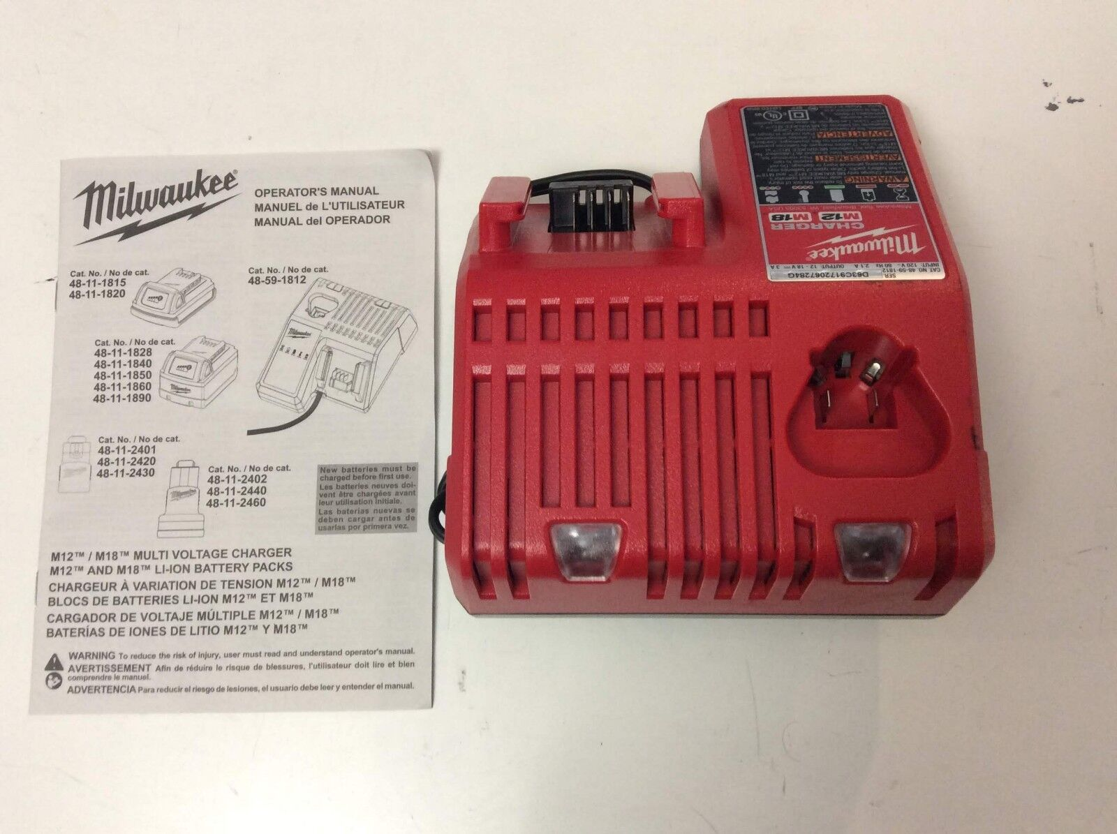 MILWAUKEE 48-59-1812 18V 18 VOLT M12 / M18 LITHIUM ION CHARGER NEW 3