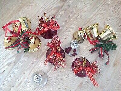 Christmas bells tree decorations x 11 job Lot, bundle. Vintage,retro.
