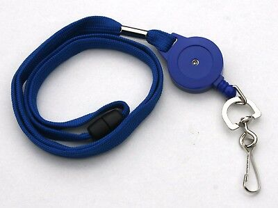 Blue Retractable Lanyard Reel Inc Metal Swivel Clip With Safety Breakaway