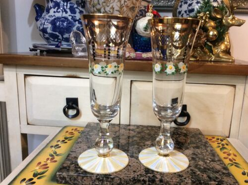 2 MACKENZIE-CHILDS Sweetbriar Champagne Flute