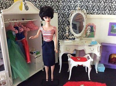 Brunette Bubble Cut Barbie Wearing Cruise Stripes